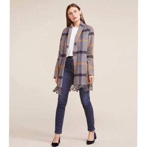 BB Dakota Women's Plaid Fringe Coat